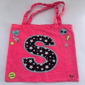 """Justice """"S"""" Tote Hot Pink Space Theme"""